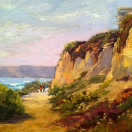 surfers and cliffs oil painting