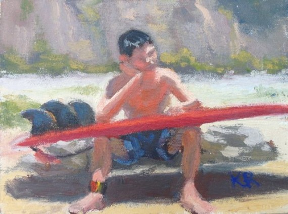 boy with red surf board painting