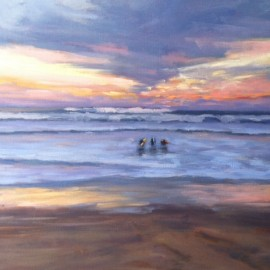 Sunset Surfing Oil Painting Kathleen Robison