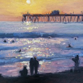 Watching the Surf OIl Painting by Kathleen Robison