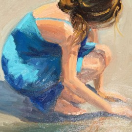 Painting of Girl Looking for Seashells by Kathleen Robison