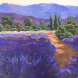 Lavender Field Oil Painting by Kathleen M Robison