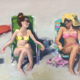 girls on the beach oil painting