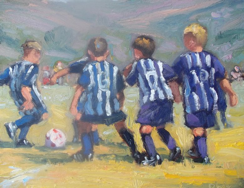Blue and Purple Soccer Oil Painting