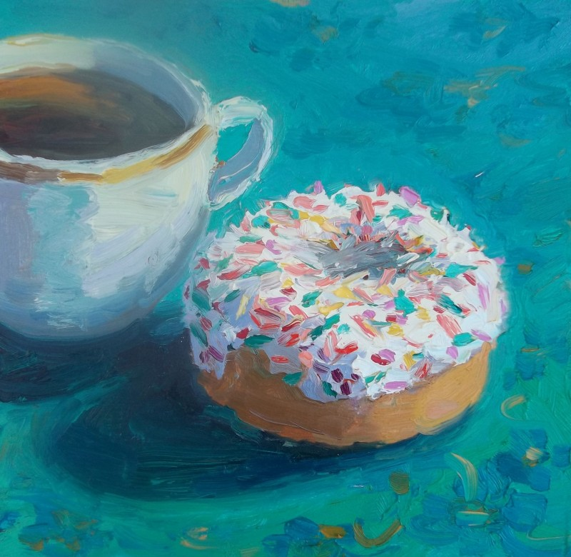 Spreckled Donut 6×6 Oil painting