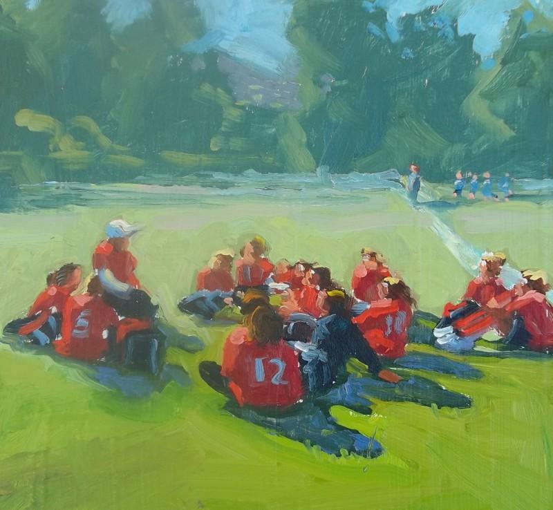 Soccer Pep Talk 6×6 Oil painting original
