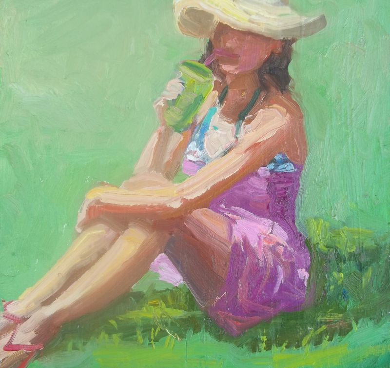 Lemonade on the Grass 6x6 impressionist oil painting
