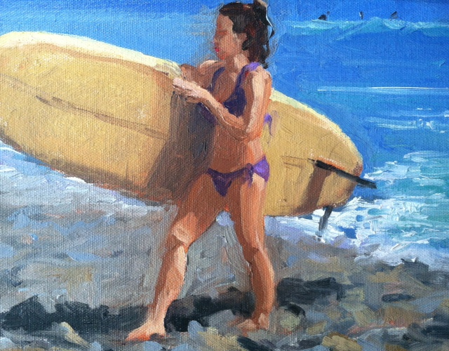 "Gilr with Longboard 8x10"" Oil Painting"