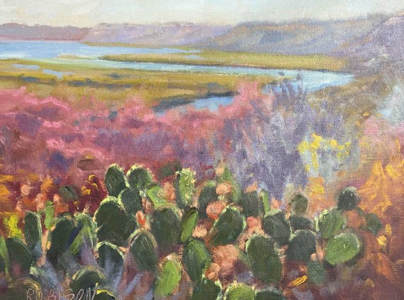 Painting of bluffs and cactus in Newport Beach Back Bay