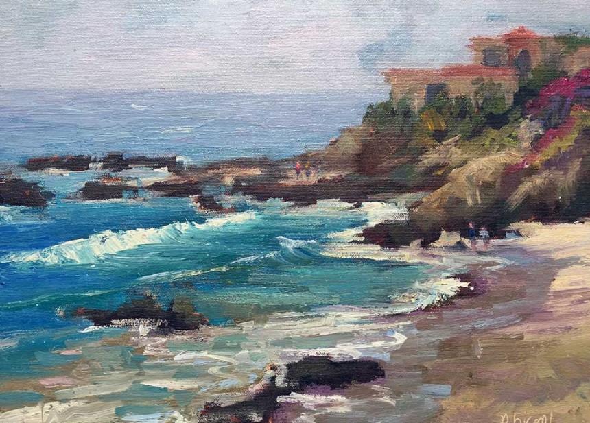 Painting of Woods Cove in Laguna Beach, CA