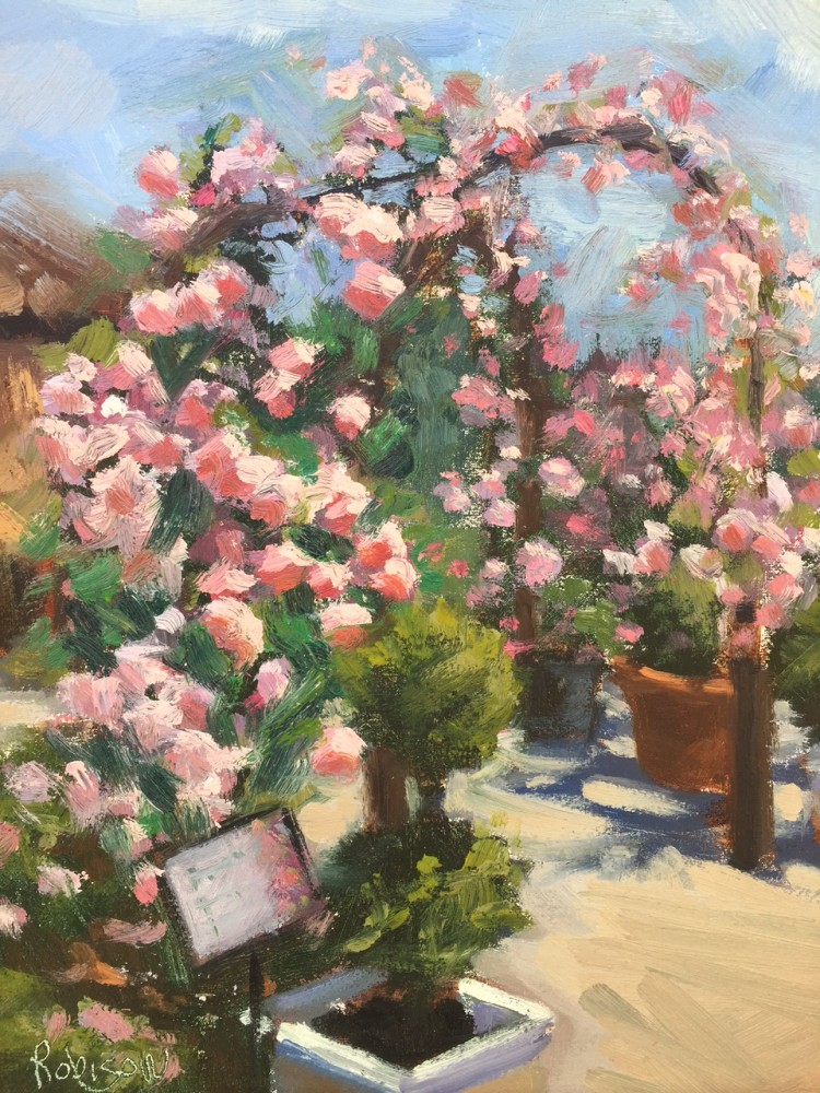 Rose Trellis Oil Painting