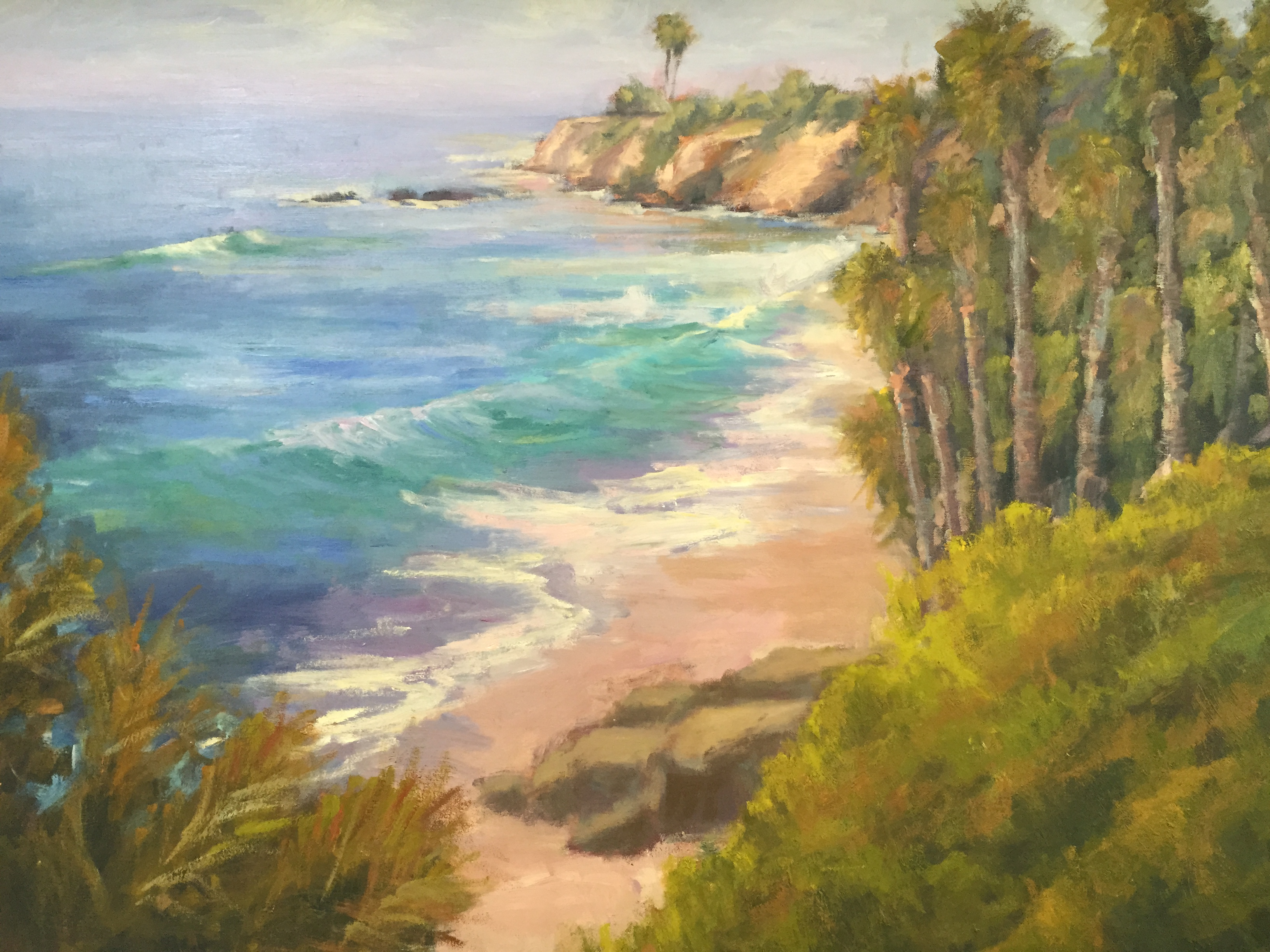 California Coast 36x48 Original Oil Painting By Kathleen M